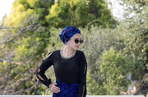 Monochrome abaya with blue skirt15 edit