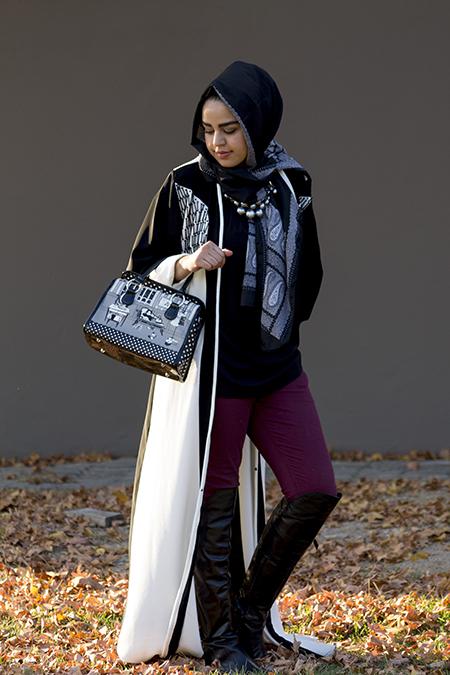 Monochrome abaya with burgandy pants03 edit