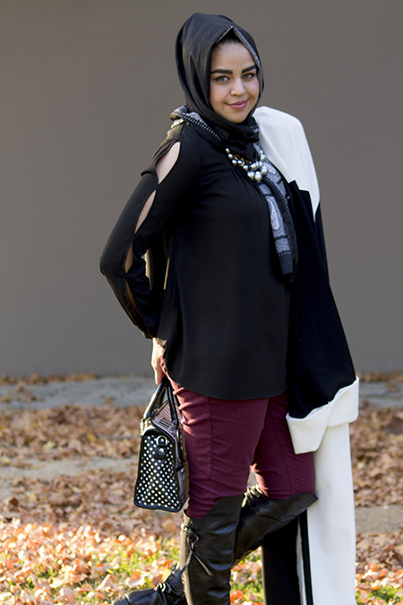 Monochrome abaya with burgandy pants13 edit