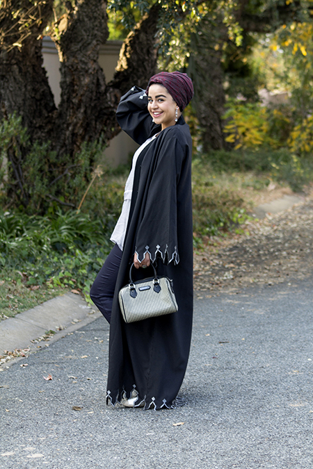 Pinstripe abaya with grey top05 edit